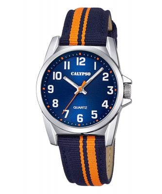 Calypso K5707/4 Kinderuhr Dunkelblau/Orange