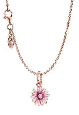 Pandora 39452 Rose Damen-Halskette Pinkes Gänseblümchen