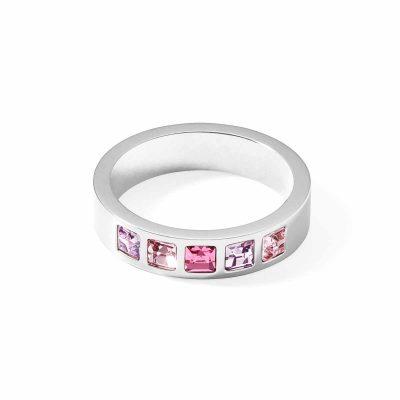 Coeur de Lion 0130/40-1917 Damenring Edelstahl Kristalle Pavé multi-rosa