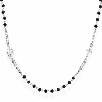 Amen CROBN3 Damen-Kette Kristall-Rosenkranz 925 Silber
