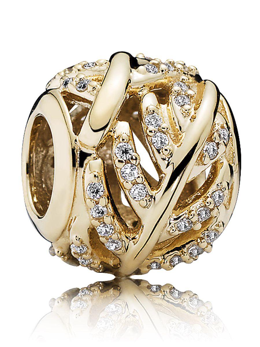 Uhrcenter.de  Pandora 750831CZ Charm Funkelnde Feder Gold