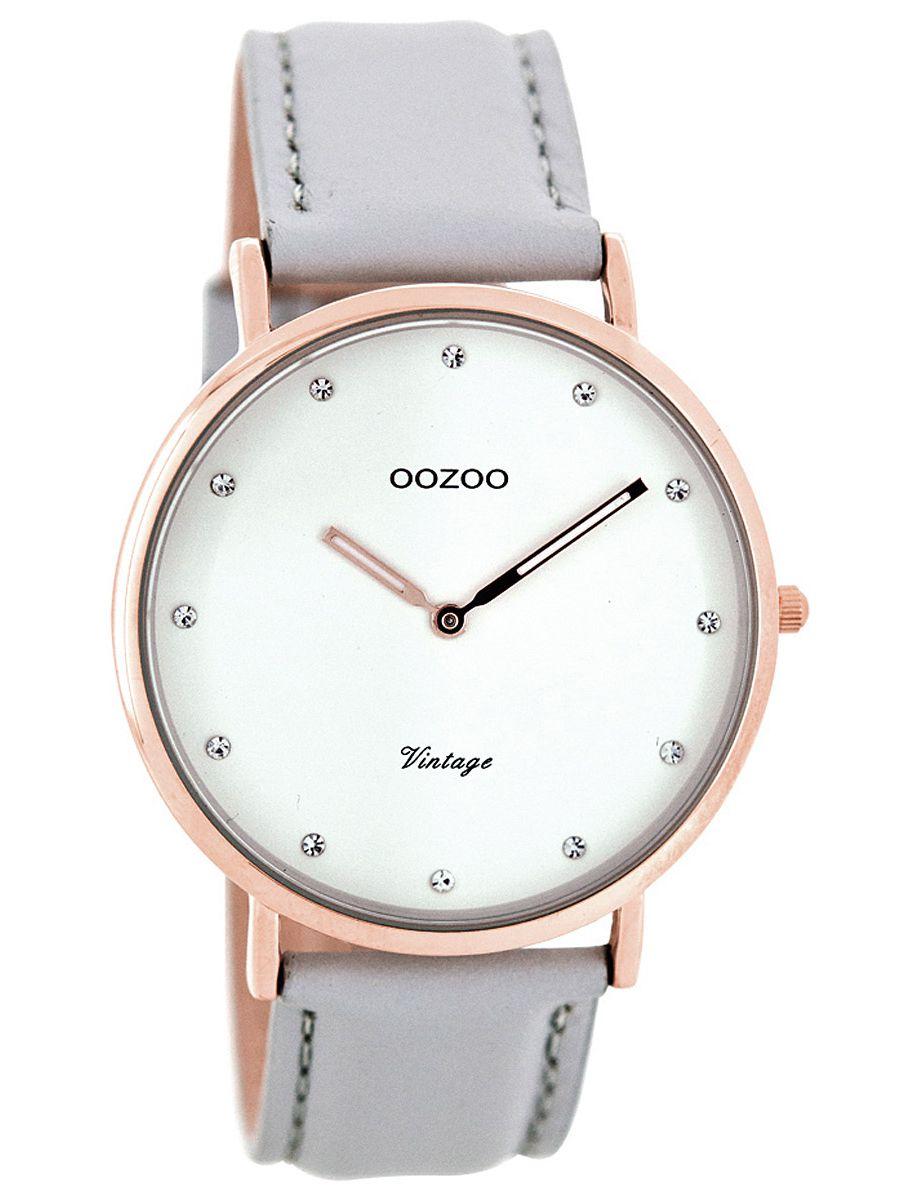 Oozoo C7777 Vintage Damenuhr Hellgrau