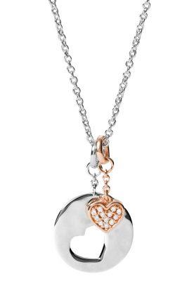 Fossil JFS00498998 Silber Damen-Kette mit Herz-Anhänger