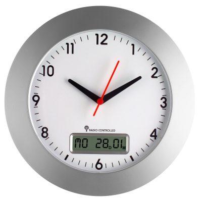 TFA 98.1092 Funk-Wanduhr mit Datumsanzeige Silber/Weiß