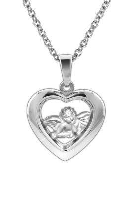 trendor 78865 Anhänger Herz mit Schutzengel an Kette für Kinder Silber 925