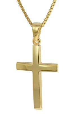 trendor 35796 Kreuz Anhänger Gold 333 (8 Karat) mit goldplattierter Kette
