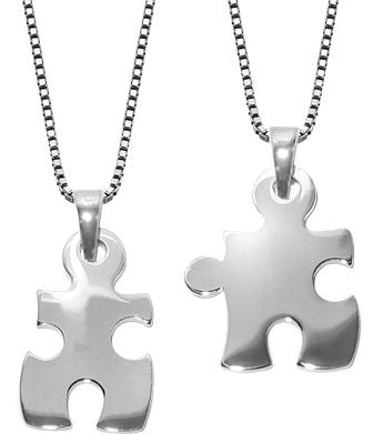 trendor 63775 Puzzle Partner-Anhänger mit 2 Halsketten Silber 925