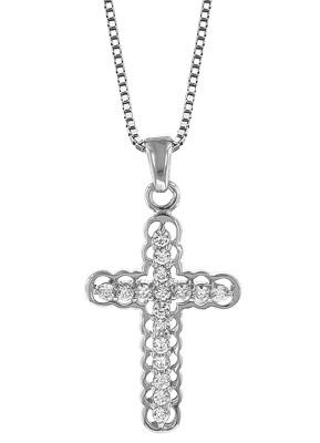 trendor 35909 Halskette mit Kreuz Silber 925 Zirkonia