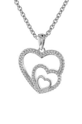 trendor 75261 Damen-Halskette Silber 925 mit Anhänger Herzen in Herz