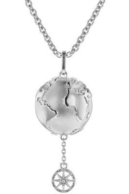 trendor 75499 Kette mit Anhänger Planet Erde Silber 925