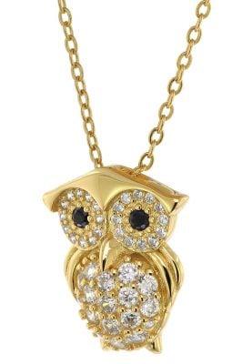 trendor 75853 Damen-Kette Anhänger Eule Gold auf Silber Zirkonias