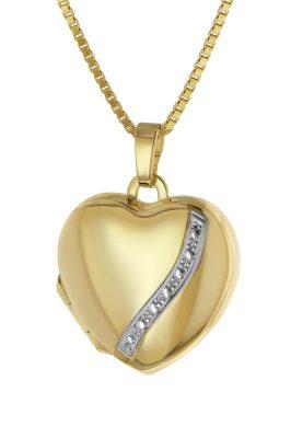 trendor 39056 Medaillon Herz Gold 333 / 8K mit Vergoldeter Damen-Halskette