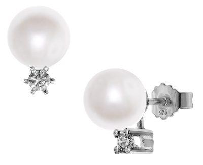 trendor 08388 Silber Ohrringe mit Süßwasser-Zuchtperlen Weiß