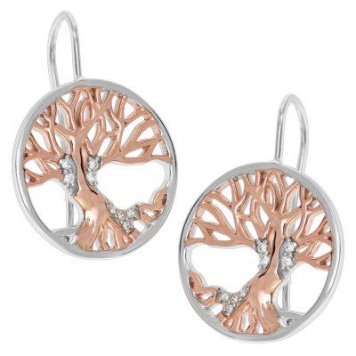 trendor 75509 Damen-Ohrringe Ohrhänger Lebensbaum Silber 925