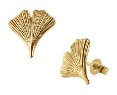 trendor 75723 Ohrstecker Gingko-Blatt Ohrringe Gold auf Silber