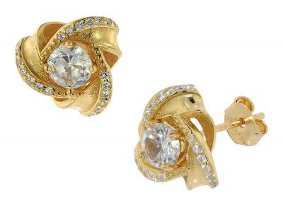 trendor 75839 Ohrringe Knoten Zirkonia Gold auf Silber Ohrstecker