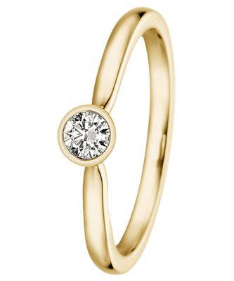 trendor 532494 Damen-Ring für Heiratsantrag 585 Gelbgold mit Diamant 0,15 ct