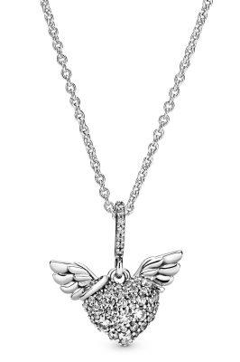 Pandora 398505C01-45 Damen-Collier Pave Heart & Angel Wings