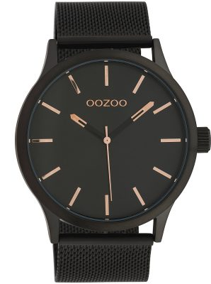 Oozoo C10058 Armbanduhr mit Milanaiseband Schwarz 45 mm