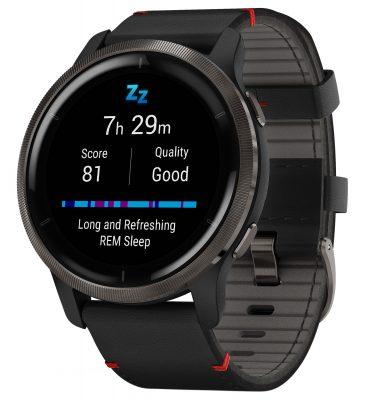 Garmin 010-02430-21 Venu 2 Fitness Smartwatch Schwarz/Grau + Lederband